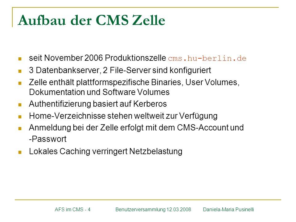 Aufbau der CMS Zelle seit November 2006 Produktionszelle cms.hu-berlin.de 3 Datenbankserver, 2 File-Server sind konfiguriert Zelle enthält plattformsp