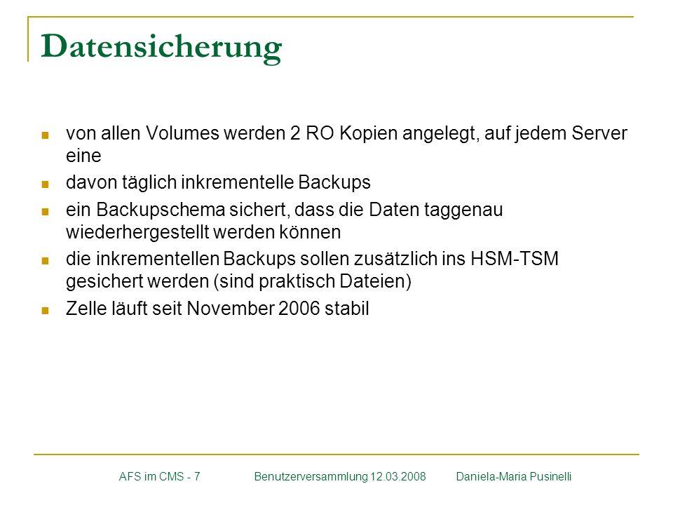Datensicherung von allen Volumes werden 2 RO Kopien angelegt, auf jedem Server eine davon täglich inkrementelle Backups ein Backupschema sichert, dass