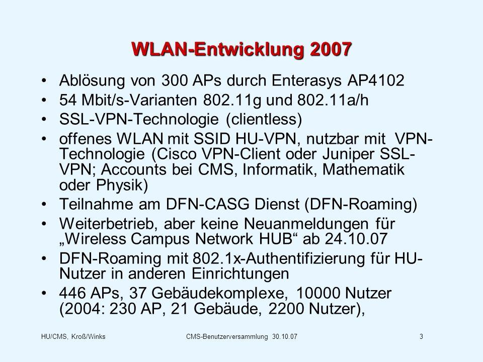HU/CMS, Kroß/WinksCMS-Benutzerversammlung 30.10.073 WLAN-Entwicklung 2007 Ablösung von 300 APs durch Enterasys AP4102 54 Mbit/s-Varianten 802.11g und