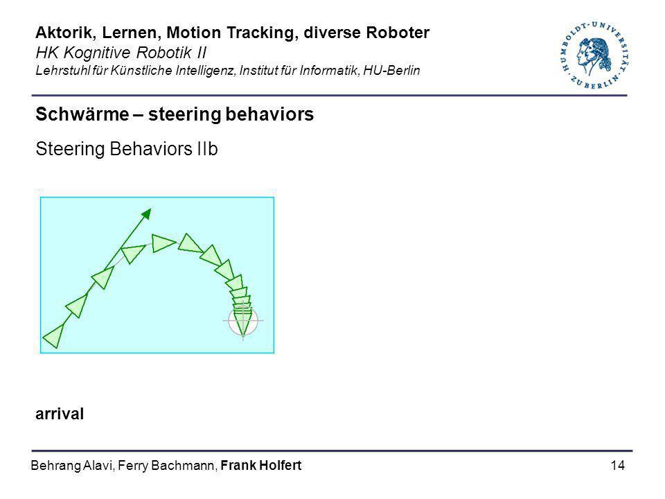 14 Schwärme – steering behaviors Steering Behaviors IIb arrival Aktorik, Lernen, Motion Tracking, diverse Roboter HK Kognitive Robotik II Lehrstuhl fü