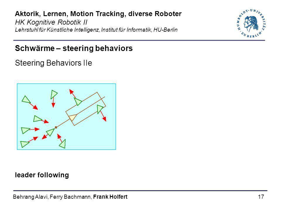 17 Schwärme – steering behaviors Steering Behaviors IIe leader following Aktorik, Lernen, Motion Tracking, diverse Roboter HK Kognitive Robotik II Leh