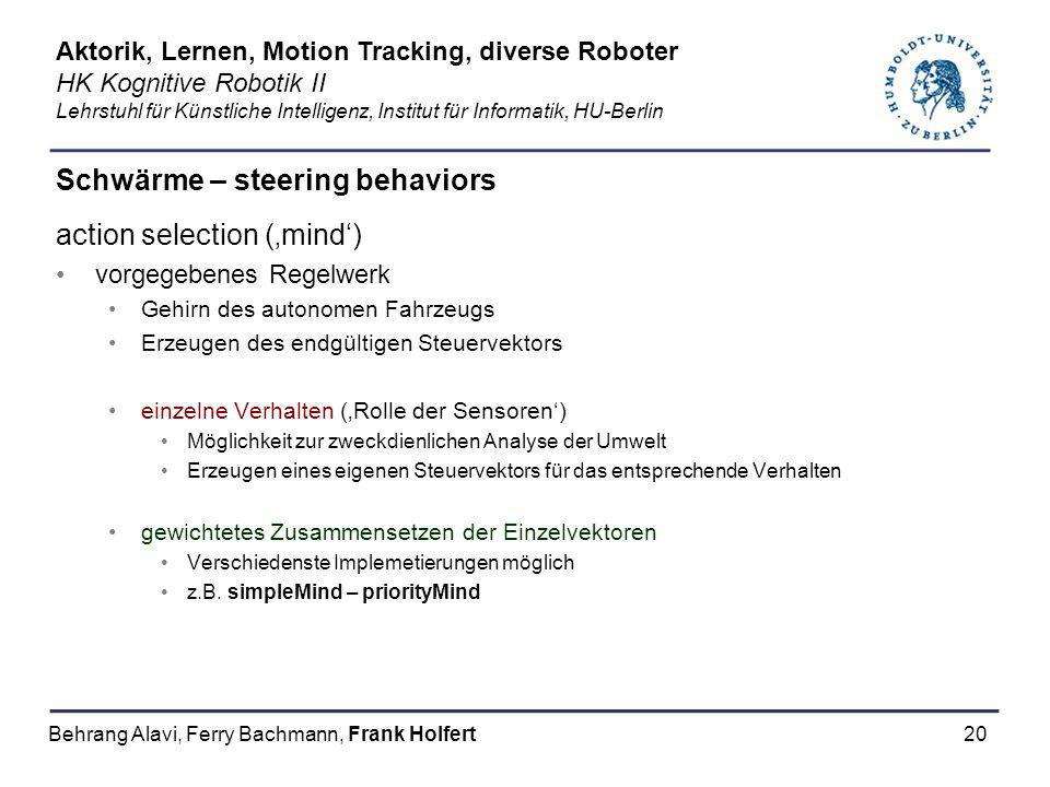 20 Schwärme – steering behaviors action selection (mind) vorgegebenes Regelwerk Gehirn des autonomen Fahrzeugs Erzeugen des endgültigen Steuervektors