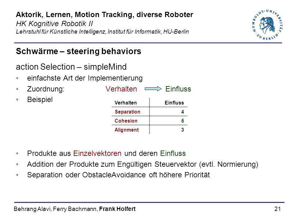 21 Schwärme – steering behaviors action Selection – simpleMind einfachste Art der Implementierung Zuordnung: Verhalten Einfluss Beispiel Produkte aus