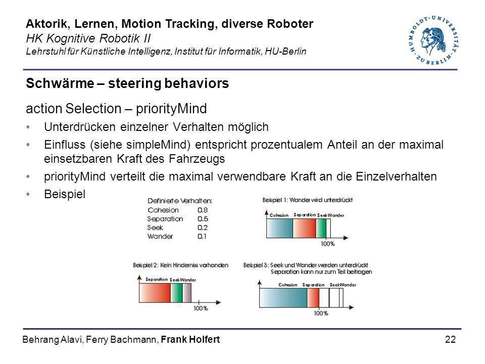 22 Schwärme – steering behaviors action Selection – priorityMind Unterdrücken einzelner Verhalten möglich Einfluss (siehe simpleMind) entspricht proze