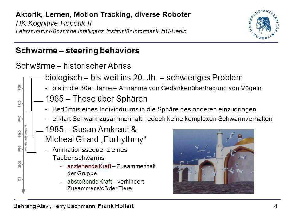 4 Schwärme – steering behaviors Schwärme – historischer Abriss biologisch – bis weit ins 20. Jh. – schwieriges Problem -bis in die 30er Jahre – Annahm