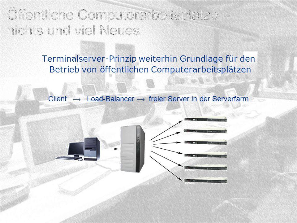 Citrix-Server werden an den ÖCAP nicht mehr primär eingesetzt (Ausnahme HU-Verwaltung) Aus Sicht des ÖCAP-Teams kann der RDP-Client den ICA-Client voll ersetzen: Einzelne Anwendungen oder ganzer Desktop mittels RDP- Konfiguration aufrufbar Lokale Medien (Laufwerke, Drucker, Smartcards) können gemountet werden Mit RDP 6 32-Bit-Farben (RDP 5.2 16-Bit) Geschwindigkeit der Verbindung identisch (subjektiv RDP schneller) Load-Balancer der Firma 2X wird eingesetzt