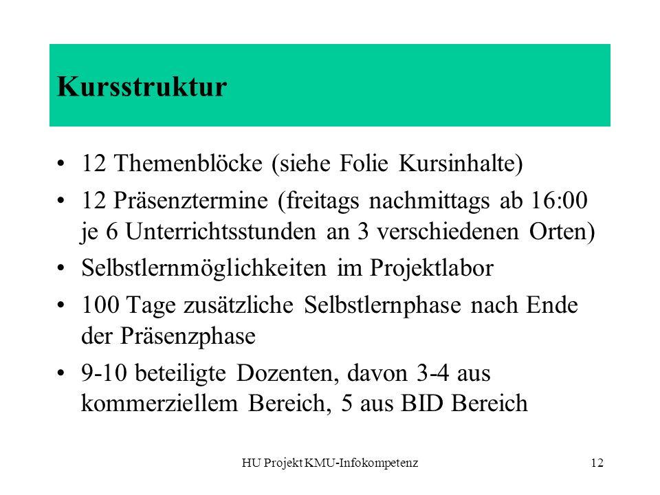 HU Projekt KMU-Infokompetenz12 Kursstruktur 12 Themenblöcke (siehe Folie Kursinhalte) 12 Präsenztermine (freitags nachmittags ab 16:00 je 6 Unterricht