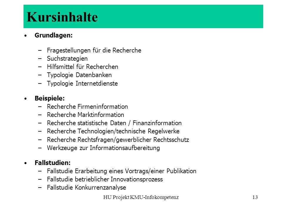 HU Projekt KMU-Infokompetenz13 Kursinhalte Grundlagen: –Fragestellungen für die Recherche –Suchstrategien –Hilfsmittel für Recherchen –Typologie Daten