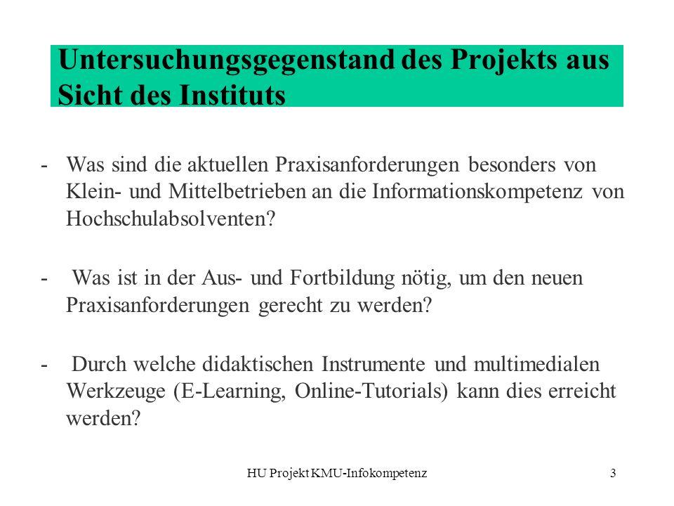 HU Projekt KMU-Infokompetenz3 Untersuchungsgegenstand des Projekts aus Sicht des Instituts -Was sind die aktuellen Praxisanforderungen besonders von Klein- und Mittelbetrieben an die Informationskompetenz von Hochschulabsolventen.