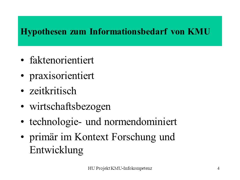 HU Projekt KMU-Infokompetenz4 Hypothesen zum Informationsbedarf von KMU faktenorientiert praxisorientiert zeitkritisch wirtschaftsbezogen technologie- und normendominiert primär im Kontext Forschung und Entwicklung
