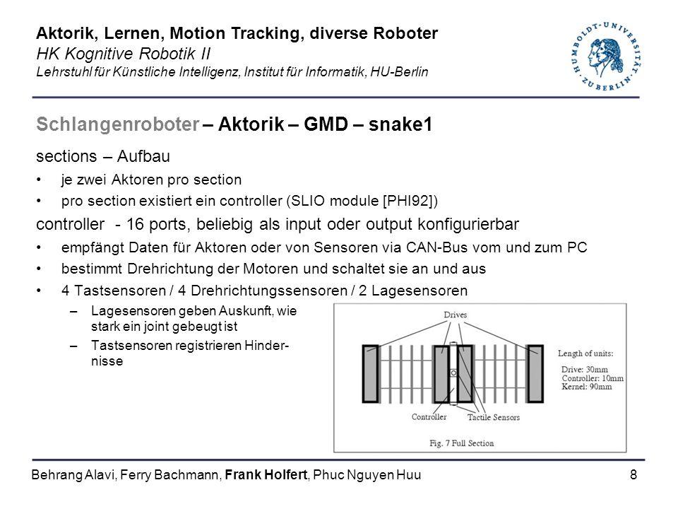 8 Schlangenroboter – Aktorik – GMD – snake1 sections – Aufbau je zwei Aktoren pro section pro section existiert ein controller (SLIO module [PHI92]) c