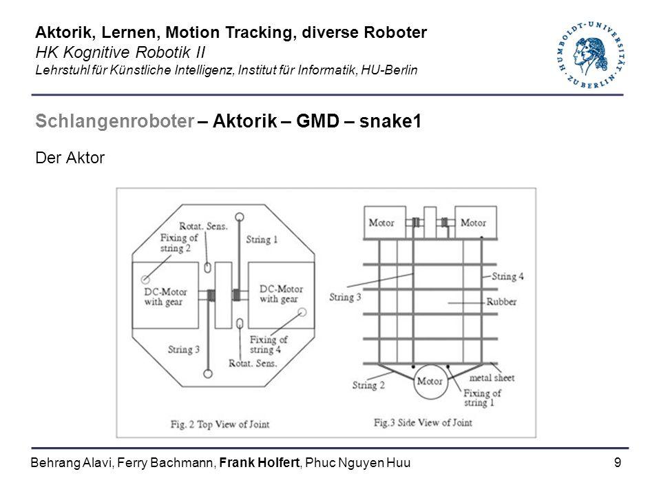 9 Schlangenroboter – Aktorik – GMD – snake1 Der Aktor Aktorik, Lernen, Motion Tracking, diverse Roboter HK Kognitive Robotik II Lehrstuhl für Künstlic