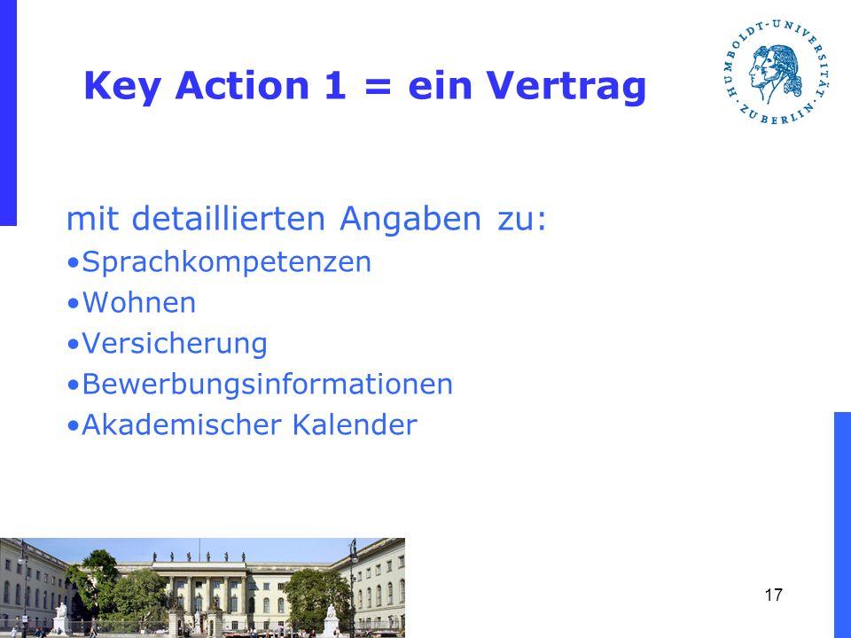 Key Action 1 = ein Vertrag mit detaillierten Angaben zu: Sprachkompetenzen Wohnen Versicherung Bewerbungsinformationen Akademischer Kalender 17