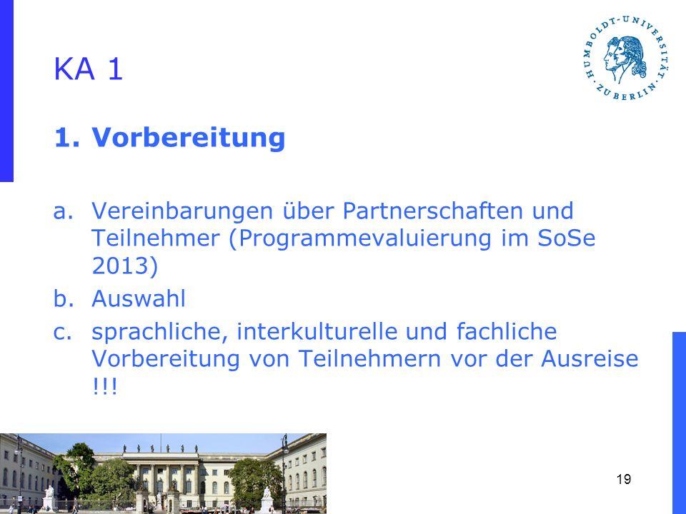 KA 1 1.Vorbereitung a.Vereinbarungen über Partnerschaften und Teilnehmer (Programmevaluierung im SoSe 2013) b.Auswahl c.sprachliche, interkulturelle u
