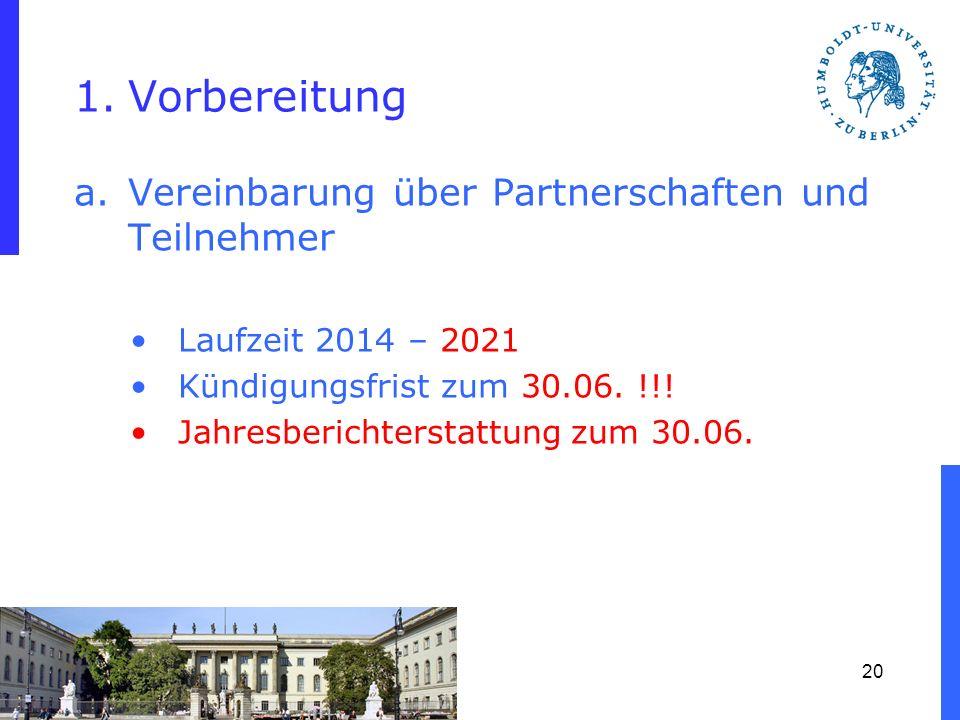 1.Vorbereitung a.Vereinbarung über Partnerschaften und Teilnehmer Laufzeit 2014 – 2021 Kündigungsfrist zum 30.06. !!! Jahresberichterstattung zum 30.0