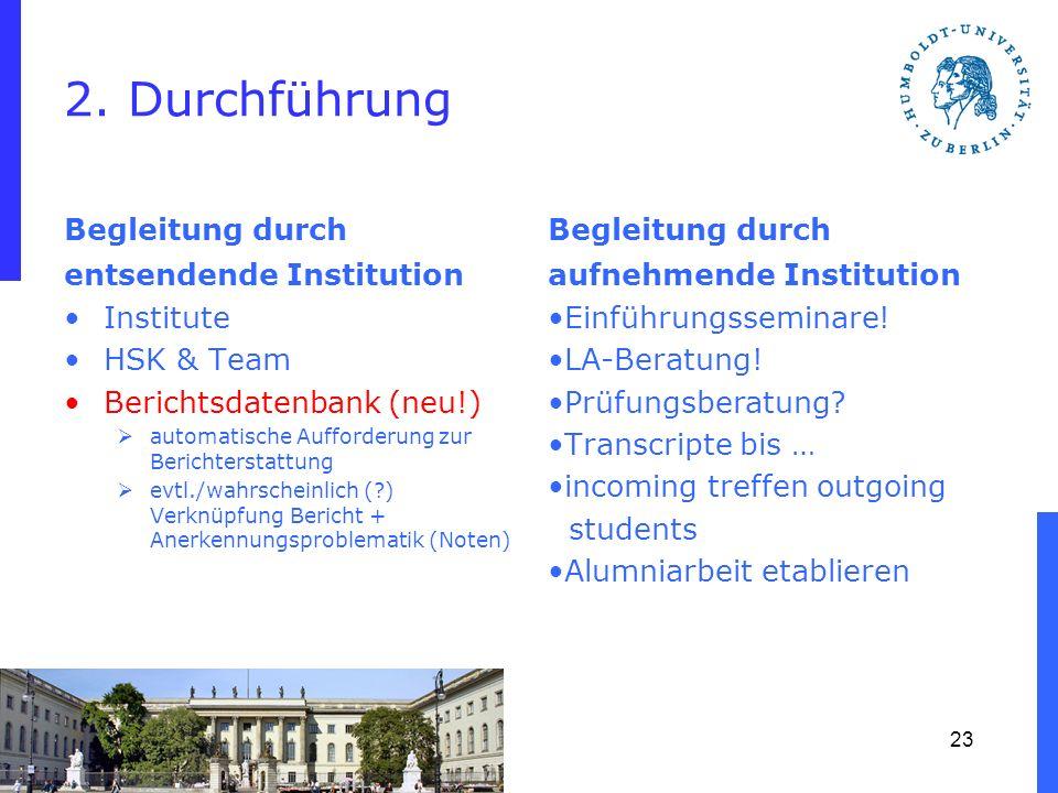 2. Durchführung Begleitung durch entsendende Institution Institute HSK & Team Berichtsdatenbank (neu!) automatische Aufforderung zur Berichterstattung