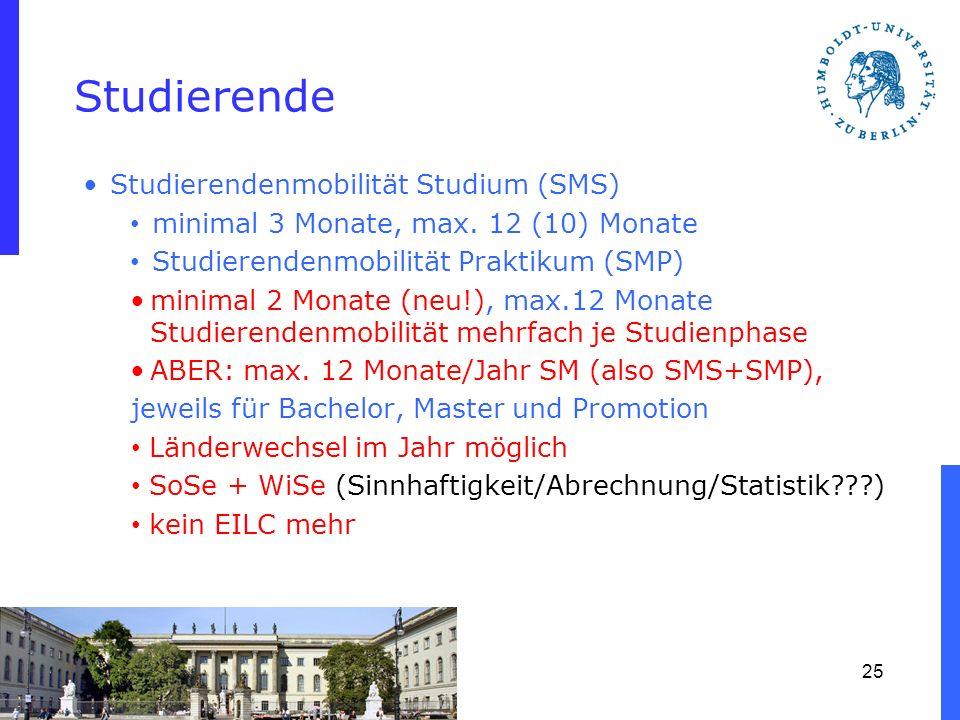 Studierende Studierendenmobilität Studium (SMS) minimal 3 Monate, max. 12 (10) Monate Studierendenmobilität Praktikum (SMP) minimal 2 Monate (neu!), m