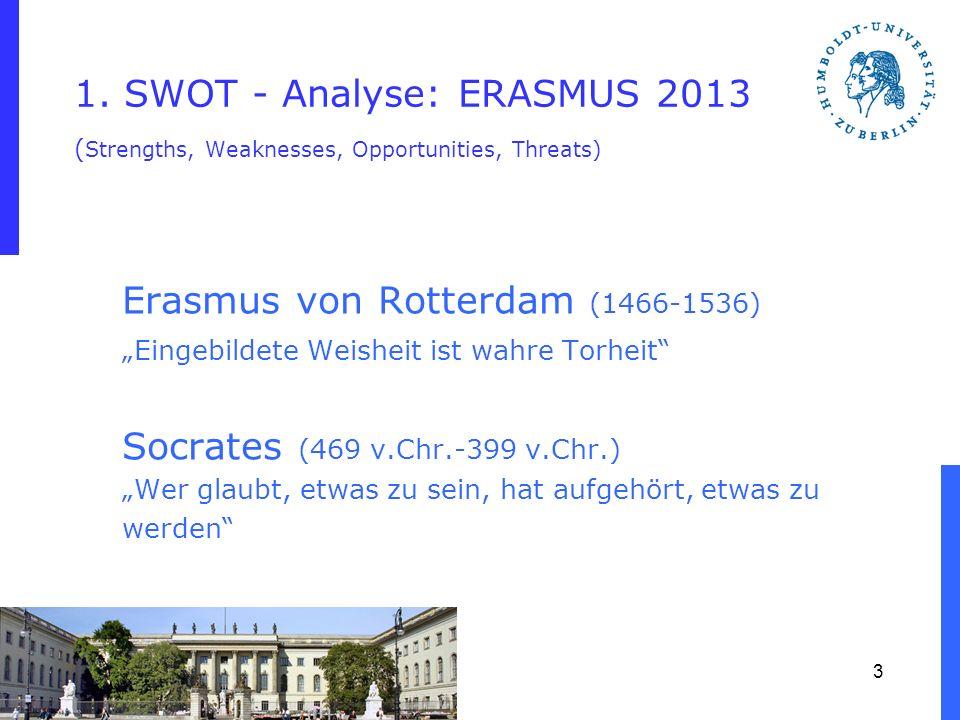 1. SWOT - Analyse: ERASMUS 2013 ( Strengths, Weaknesses, Opportunities, Threats) Erasmus von Rotterdam (1466-1536) Eingebildete Weisheit ist wahre Tor