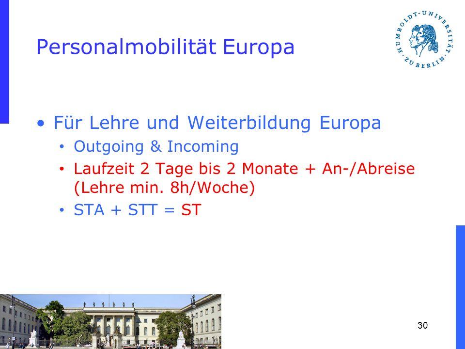 Personalmobilität Europa Für Lehre und Weiterbildung Europa Outgoing & Incoming Laufzeit 2 Tage bis 2 Monate + An-/Abreise (Lehre min. 8h/Woche) STA +