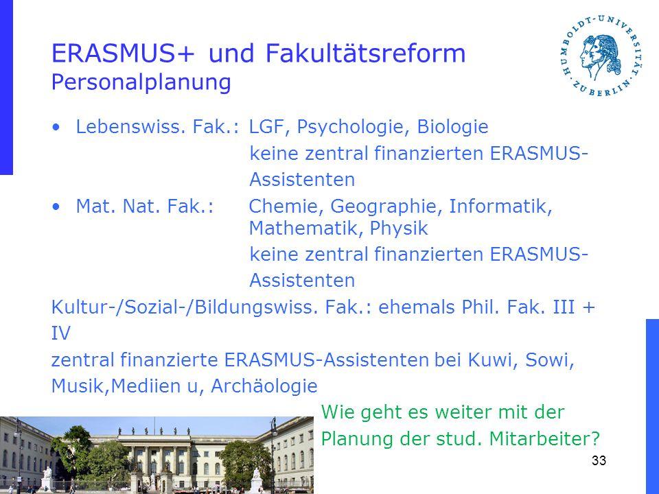 ERASMUS+ und Fakultätsreform Personalplanung Lebenswiss. Fak.:LGF, Psychologie, Biologie keine zentral finanzierten ERASMUS- Assistenten Mat. Nat. Fak