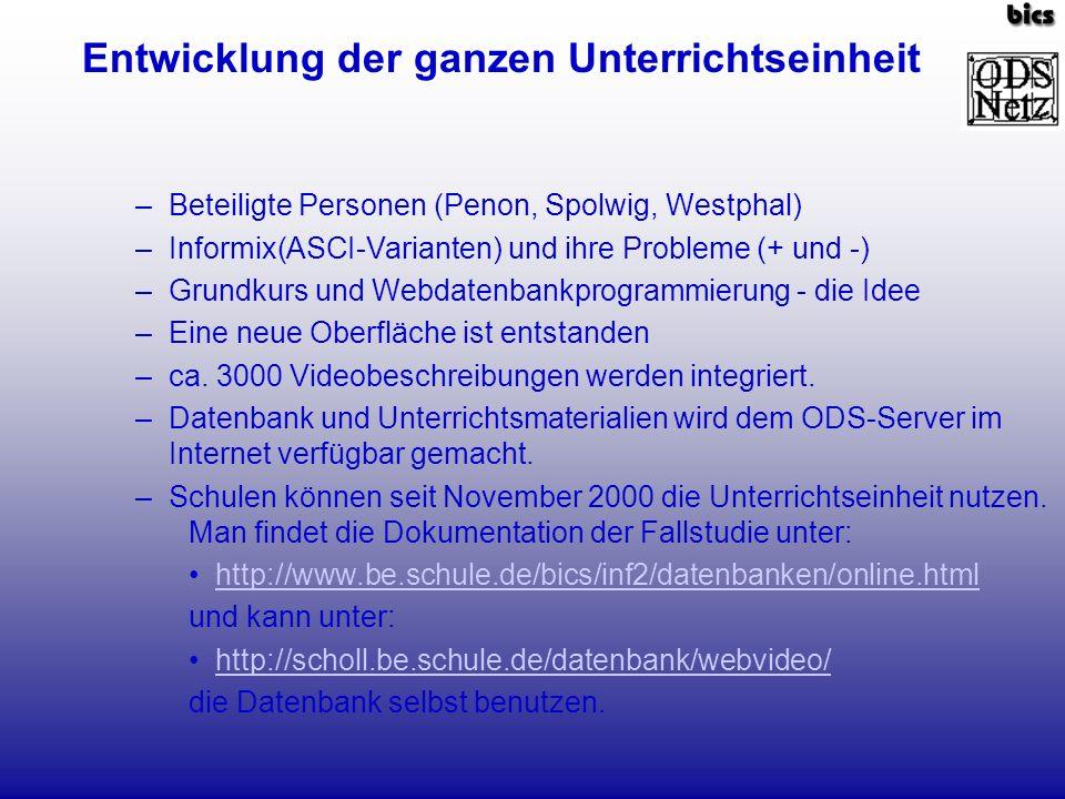 –Beteiligte Personen (Penon, Spolwig, Westphal) –Informix(ASCI-Varianten) und ihre Probleme (+ und -) –Grundkurs und Webdatenbankprogrammierung - die