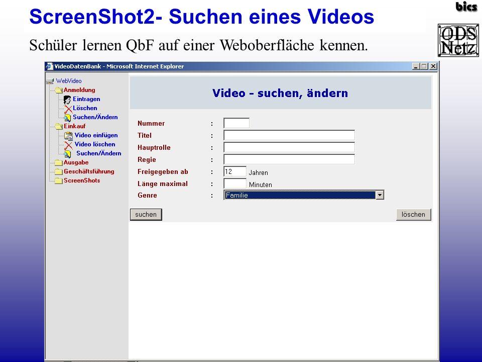 ScreenShot2- Suchen eines Videos Schüler lernen QbF auf einer Weboberfläche kennen.
