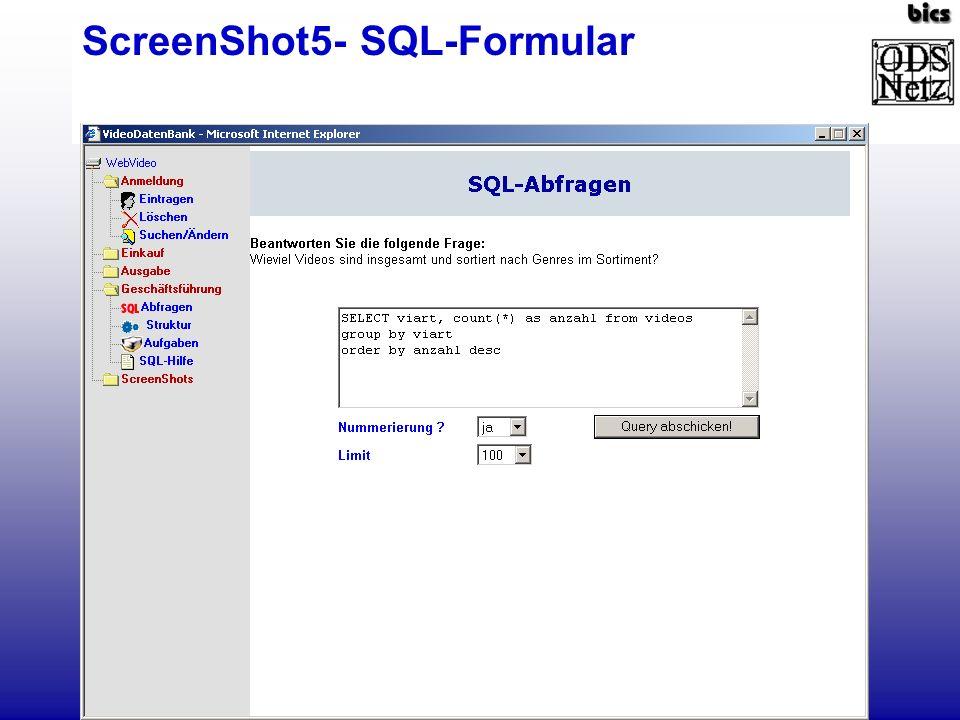 ScreenShot5- Antwort des SQL-Servers