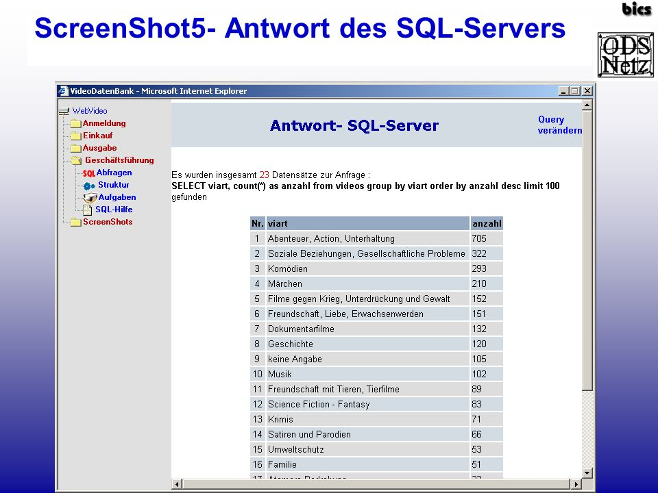 ScreenShot5- Antwort des SQL-Servers