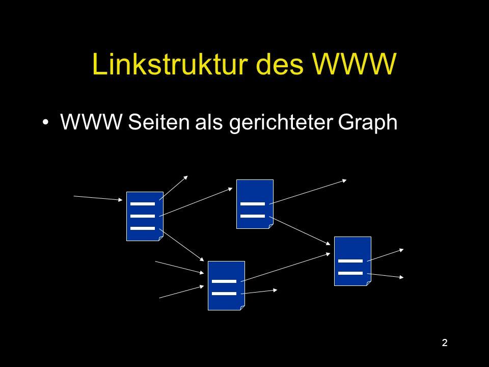 1 Gliederung Informationen aus dem WWW gewinnen Textsuche PageRank HITS