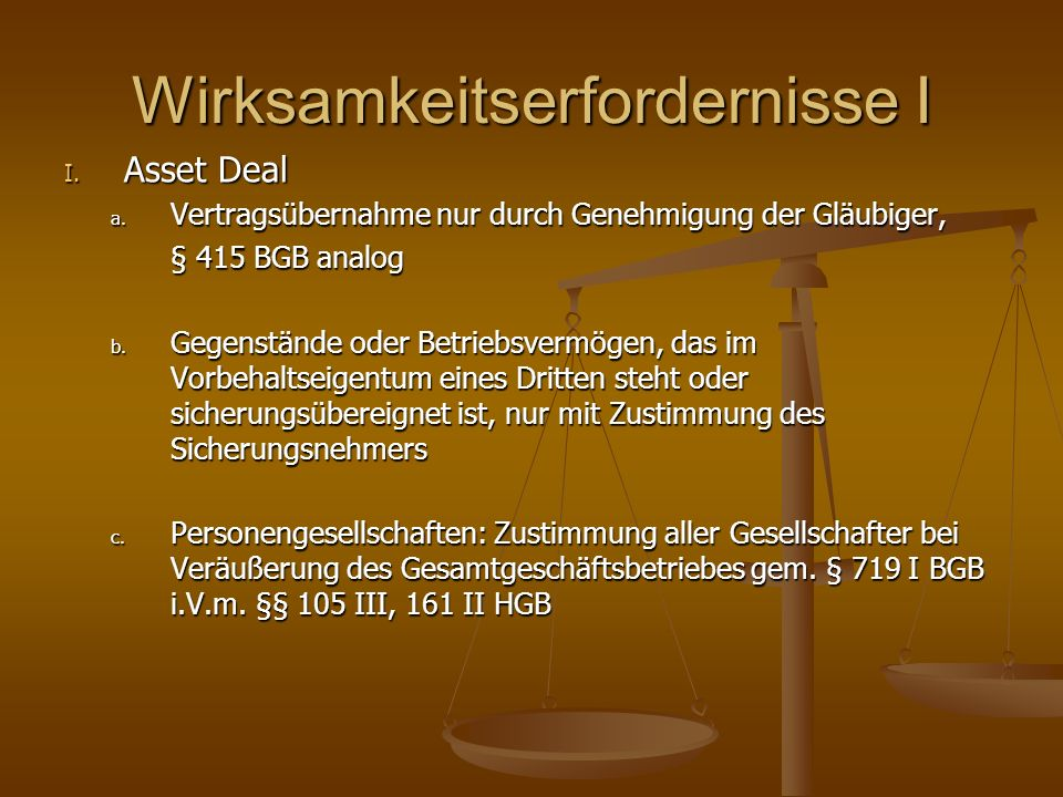 Wirksamkeitserfordernisse I I. Asset Deal a. Vertragsübernahme nur durch Genehmigung der Gläubiger, § 415 BGB analog b. Gegenstände oder Betriebsvermö
