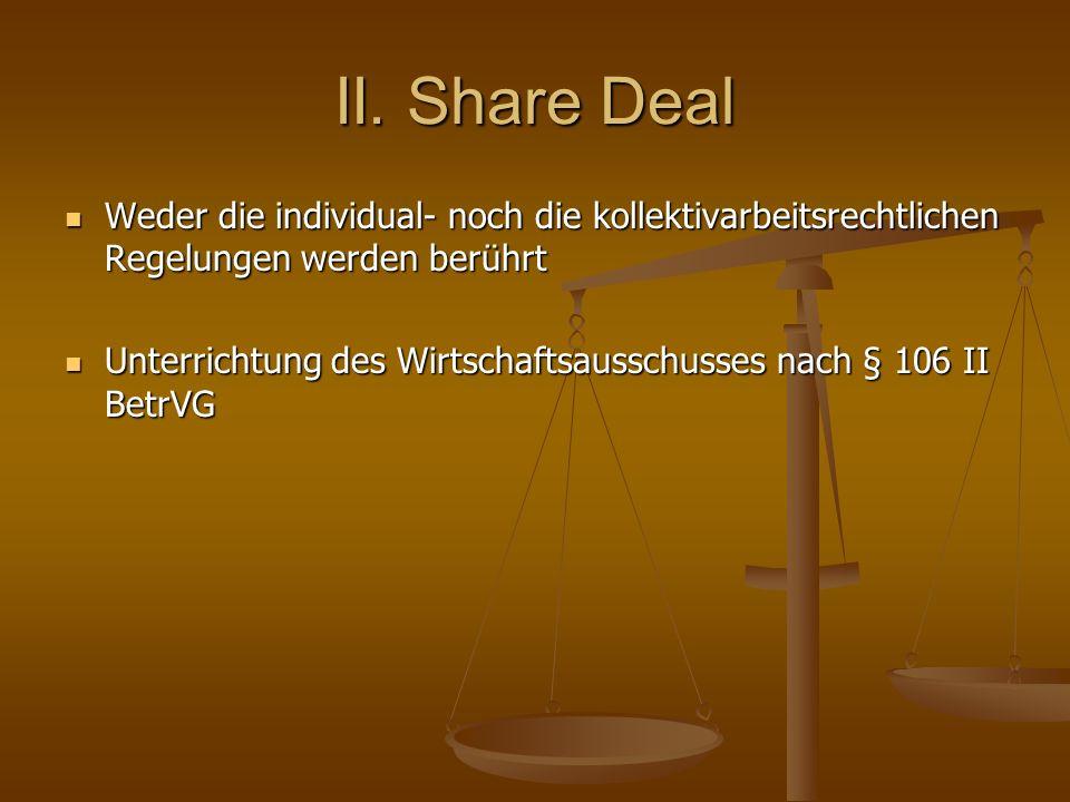 II. Share Deal Weder die individual- noch die kollektivarbeitsrechtlichen Regelungen werden berührt Weder die individual- noch die kollektivarbeitsrec