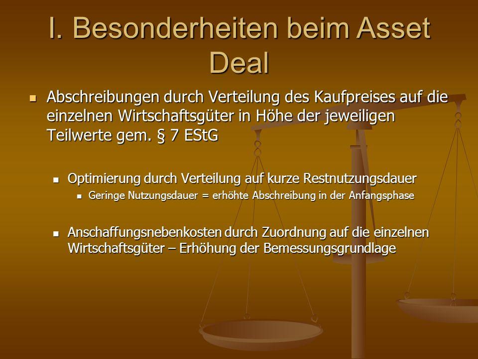 I. Besonderheiten beim Asset Deal Abschreibungen durch Verteilung des Kaufpreises auf die einzelnen Wirtschaftsgüter in Höhe der jeweiligen Teilwerte