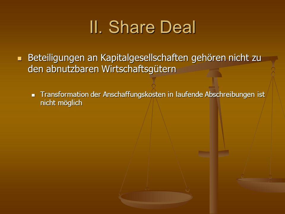 II. Share Deal Beteiligungen an Kapitalgesellschaften gehören nicht zu den abnutzbaren Wirtschaftsgütern Beteiligungen an Kapitalgesellschaften gehöre