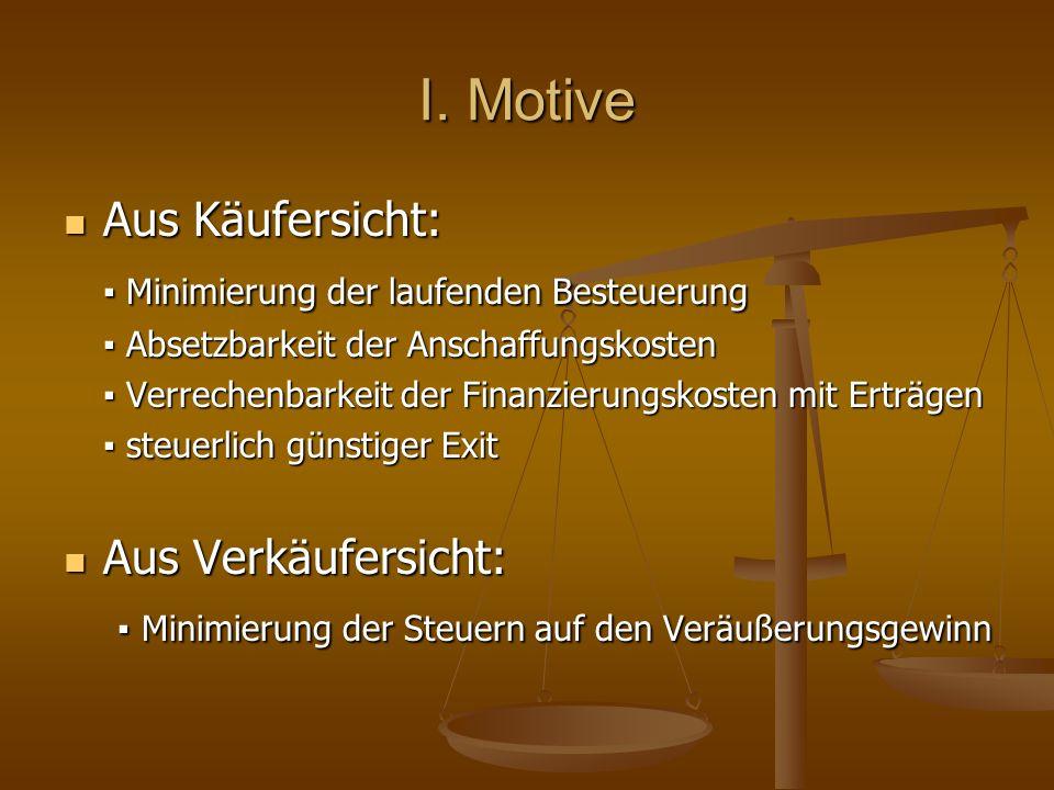 I. Motive Aus Käufersicht: Aus Käufersicht: Minimierung der laufenden Besteuerung Minimierung der laufenden Besteuerung Absetzbarkeit der Anschaffungs