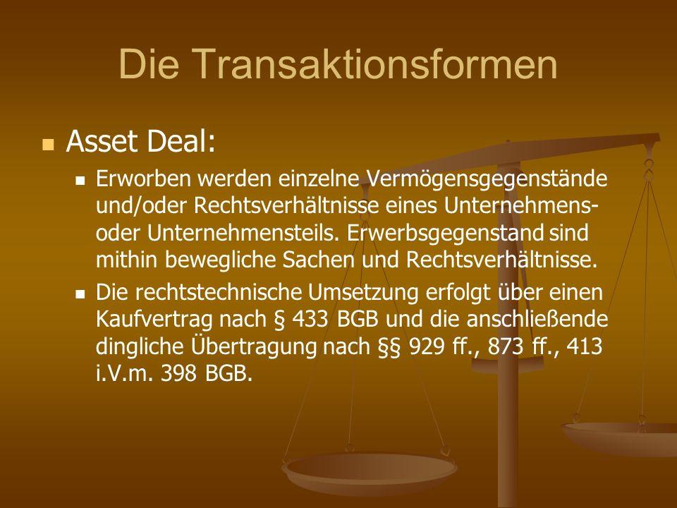Die Transaktionsformen Asset Deal: Erworben werden einzelne Vermögensgegenstände und/oder Rechtsverhältnisse eines Unternehmens- oder Unternehmensteil