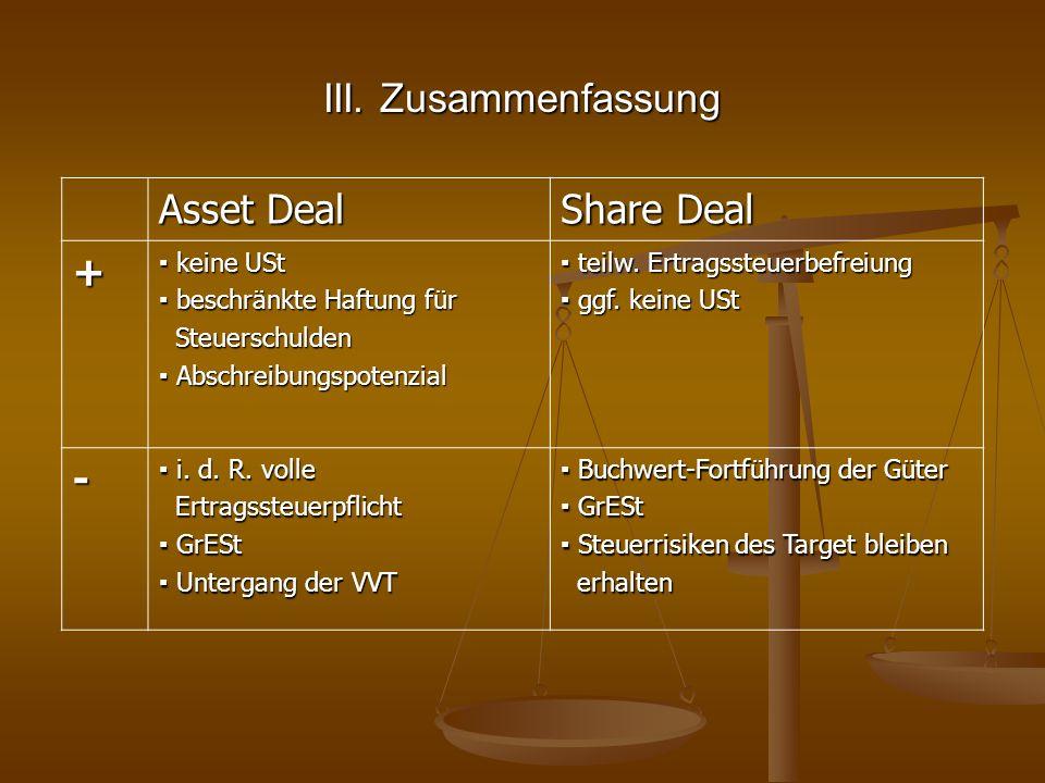 III. Zusammenfassung Asset Deal Share Deal + keine USt keine USt beschränkte Haftung für beschränkte Haftung für Steuerschulden Steuerschulden Abschre