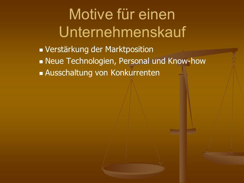 Motive für einen Unternehmenskauf Verstärkung der Marktposition Neue Technologien, Personal und Know-how Ausschaltung von Konkurrenten