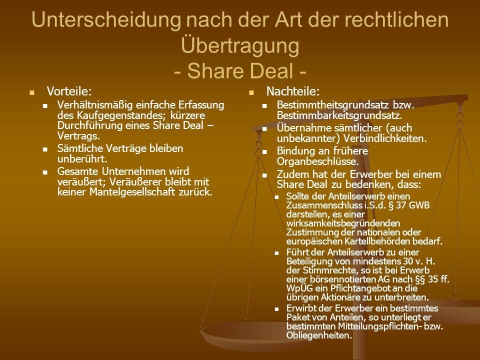 Unterscheidung nach der Art der rechtlichen Übertragung - Share Deal - Vorteile: Verhältnismäßig einfache Erfassung des Kaufgegenstandes; kürzere Durc