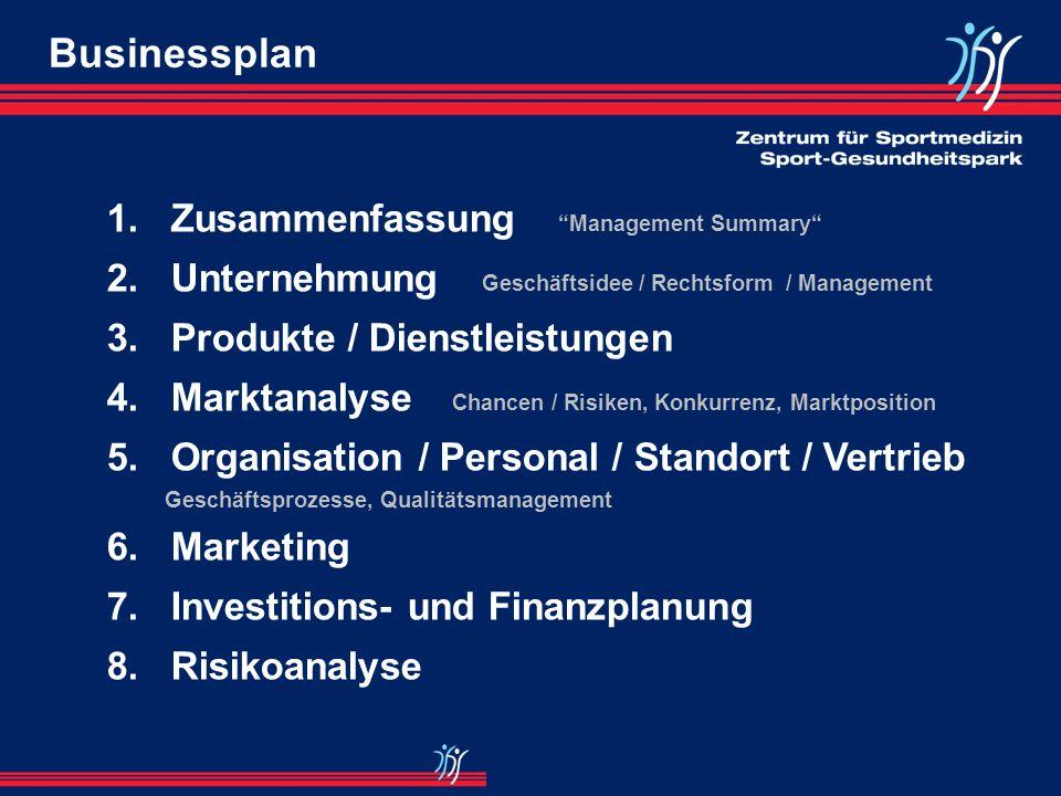 Überblick Aufbau eines Sport-Gesundheitszentrums I.Businessplan -Investitionsplan (Modellieren in Excel) -Bestimmung der unsicheren Parameter II.Koope