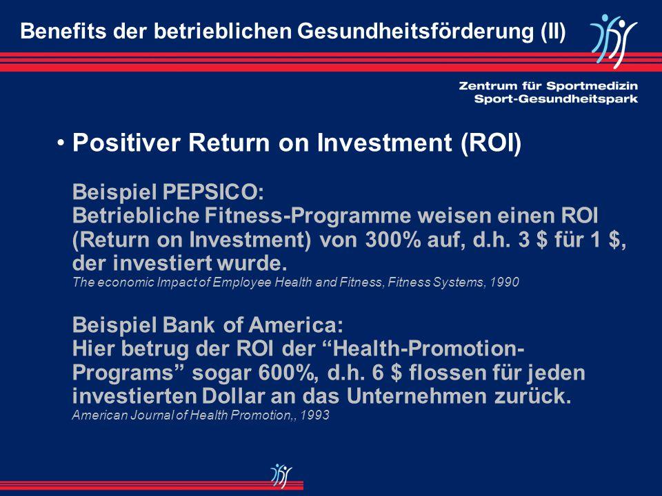 Beispiel PEPSICO: Betriebliche Fitness-Programme weisen einen ROI (Return on Investment) von 300% auf, d.h.