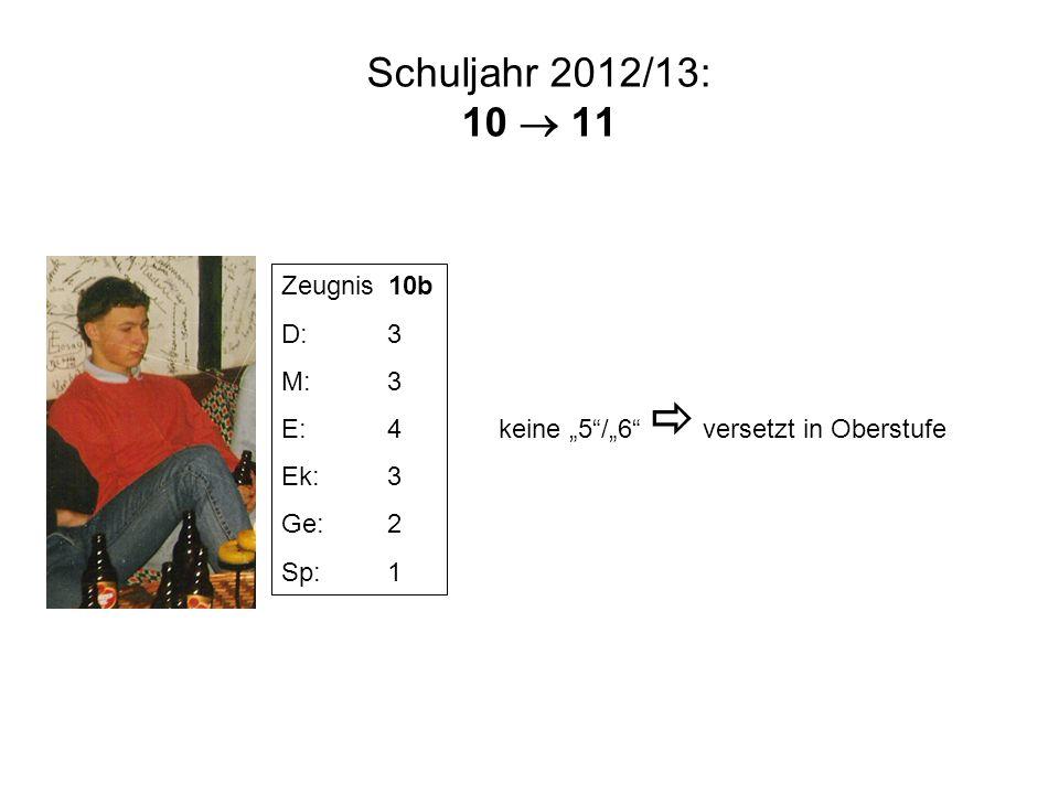 Schuljahr 2012/13: 10 11 Zeugnis 10b D:3 M:3 E:4 Ek:3 Ge:2 Sp:1 keine 5/6 versetzt in Oberstufe