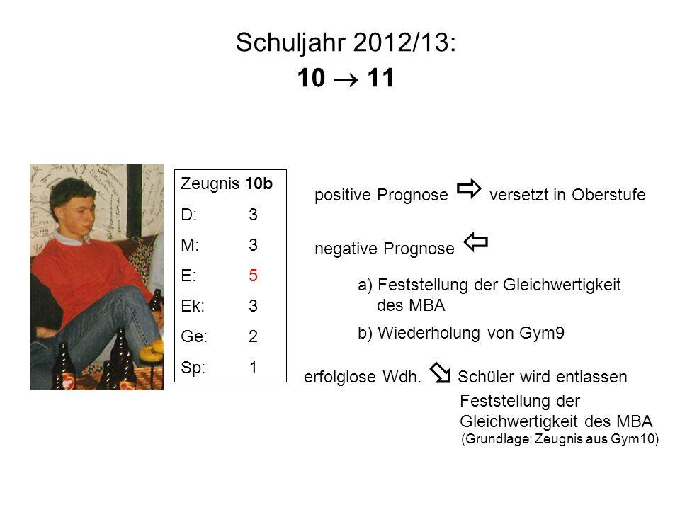 Schuljahr 2012/13: 10 11 Zeugnis 10b D:3 M:3 E:5 Ek:3 Ge:2 Sp:1 positive Prognose versetzt in Oberstufe negative Prognose a) Feststellung der Gleichwe