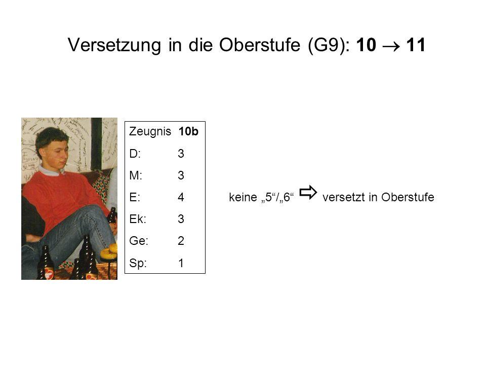 Versetzung in die Oberstufe (G9): 10 11 Zeugnis 10b D:3 M:3 E:4 Ek:3 Ge:2 Sp:1 keine 5/6 versetzt in Oberstufe