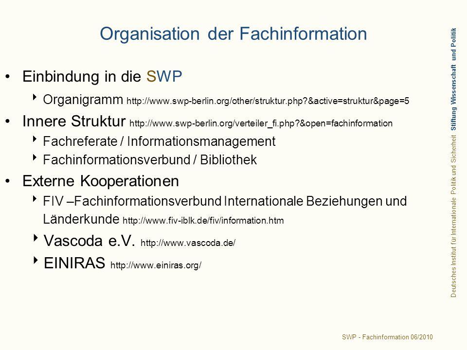 Deutsches Institut für Internationale Politik und Sicherheit Stiftung Wissenschaft und Politik SWP - Fachinformation 06/2010 Organisation der Fachinformation Einbindung in die SWP Organigramm http://www.swp-berlin.org/other/struktur.php?&active=struktur&page=5 Innere Struktur http://www.swp-berlin.org/verteiler_fi.php?&open=fachinformation Fachreferate / Informationsmanagement Fachinformationsverbund / Bibliothek Externe Kooperationen FIV –Fachinformationsverbund Internationale Beziehungen und Länderkunde http://www.fiv-iblk.de/fiv/information.htm Vascoda e.V.