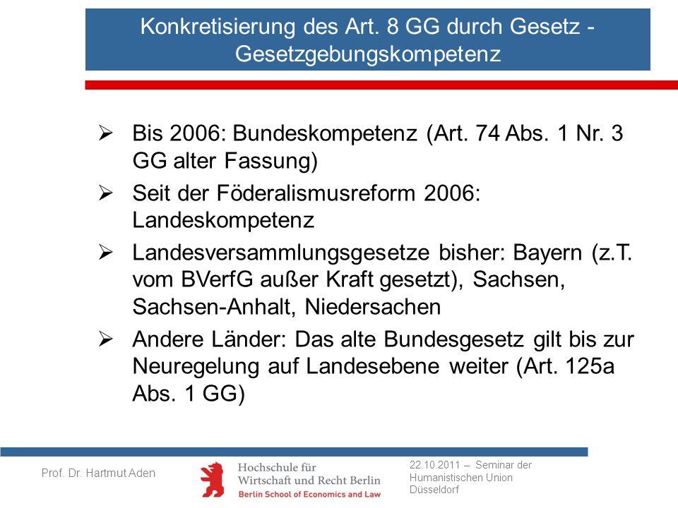 Prof. Dr. Hartmut Aden Bis 2006: Bundeskompetenz (Art. 74 Abs. 1 Nr. 3 GG alter Fassung) Seit der Föderalismusreform 2006: Landeskompetenz Landesversa