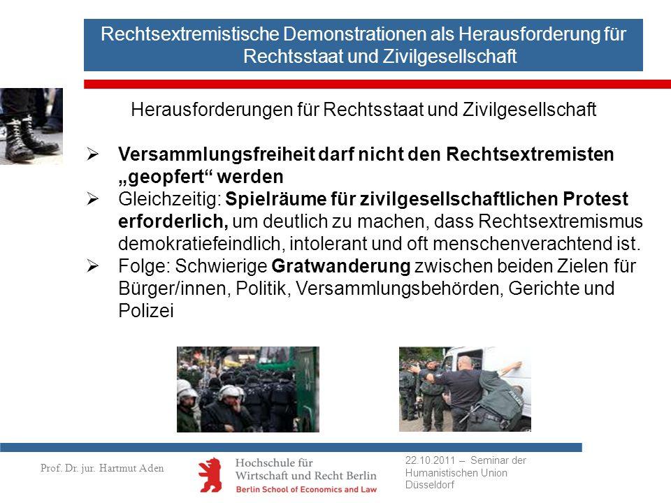 Prof. Dr. jur. Hartmut Aden Rechtsextremistische Demonstrationen als Herausforderung für Rechtsstaat und Zivilgesellschaft Herausforderungen für Recht