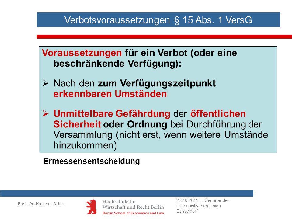 Prof. Dr. Hartmut Aden Verbotsvoraussetzungen § 15 Abs. 1 VersG Voraussetzungen für ein Verbot (oder eine beschränkende Verfügung): Nach den zum Verfü
