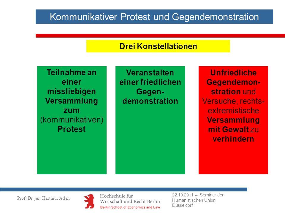 Prof. Dr. jur. Hartmut Aden Kommunikativer Protest und Gegendemonstration Drei Konstellationen Teilnahme an einer missliebigen Versammlung zum (kommun