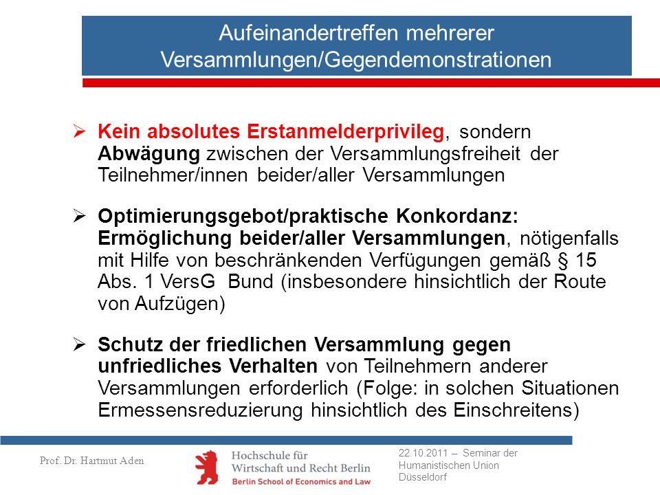 Prof. Dr. Hartmut Aden Aufeinandertreffen mehrerer Versammlungen/Gegendemonstrationen Kein absolutes Erstanmelderprivileg, sondern Abwägung zwischen d