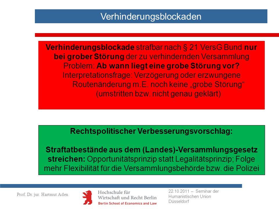 Prof. Dr. jur. Hartmut Aden Verhinderungsblockaden Verhinderungsblockade strafbar nach § 21 VersG Bund nur bei grober Störung der zu verhindernden Ver